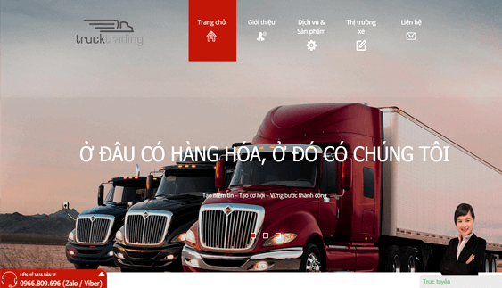 Vinaweb thiết kế trang web Xe tải, Container Xetaiquocte.com